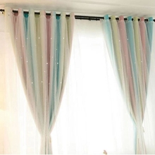 Openwork Stars Blackout Curtains Bedroom Kitchen Sheer Double Layer Of Cloth Modern For Living Room cheap YH