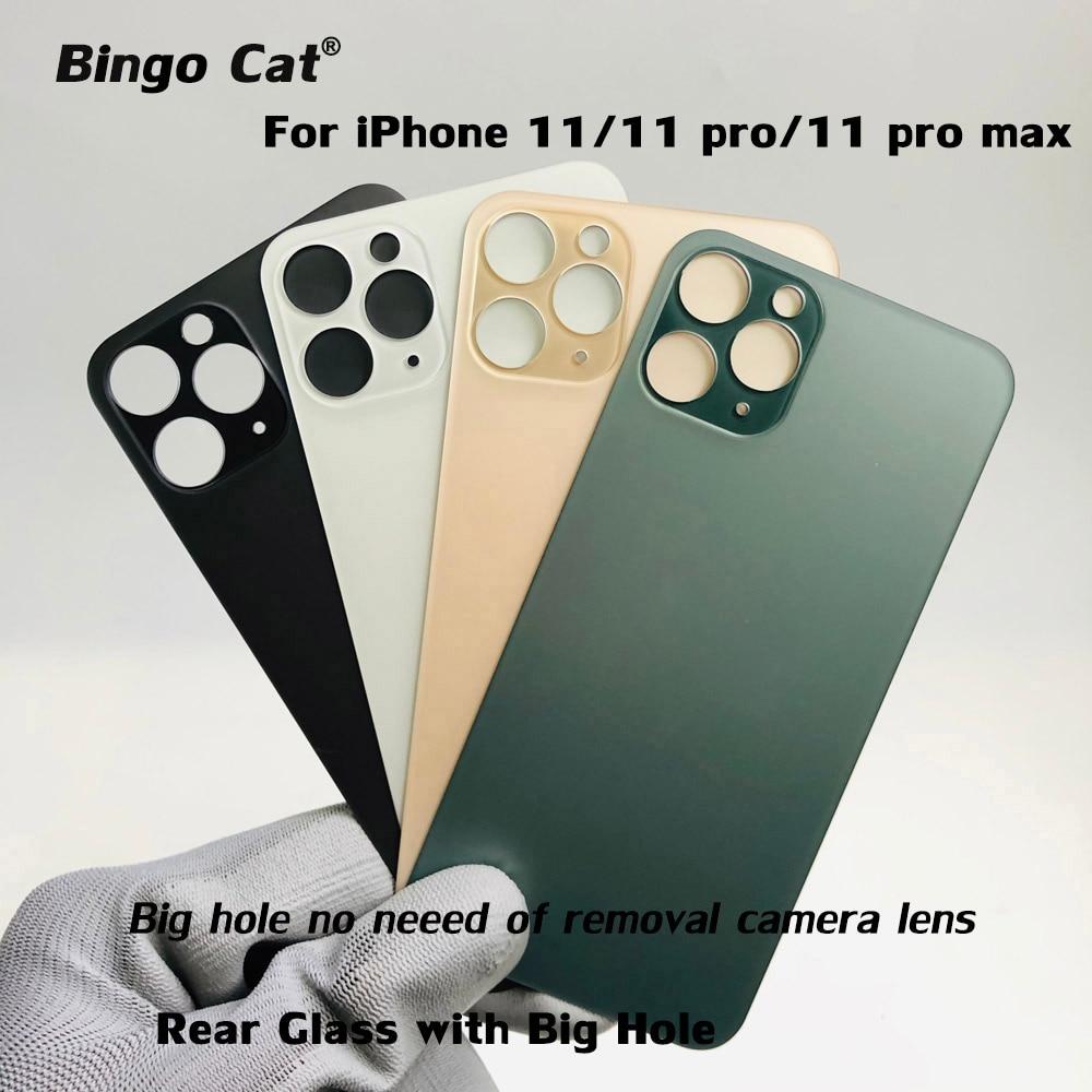 Fácil mudança da bateria traseira de vidro traseiro habitação capa para iphone 11 pro max substituição da carcaça traseira com grande furo