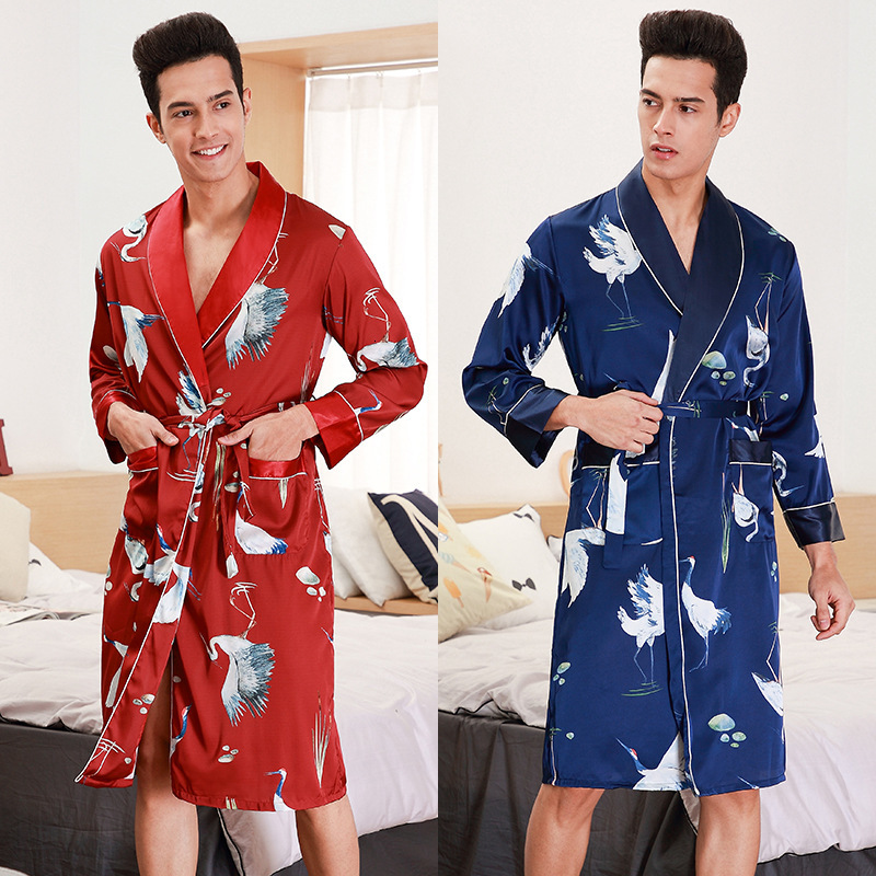 Men's Kimono Bath Robe Long Sleeve Spring Summer Autumn Silk Satin Printed Bathrobe Sleepwear Lounge Night Gown Sleep Wear Men
