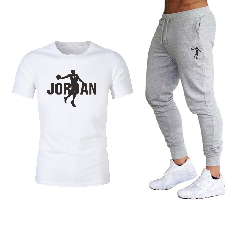 2020 New Sports Summer Suit Men's Casual Cotton Summer And Autumn Sports Short-sleeved T-shirt Plus Small Feet Men's Casual Spor