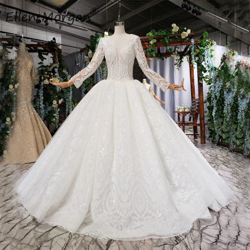 Middle East Vintage Long Sleeve Wedding Dresses Lace Ball Gowns For Women Backless Beads Formal Bridal Gown Vesido De Novia 2019