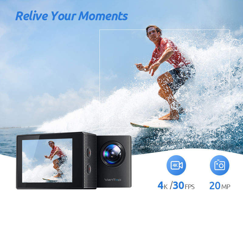 VanTop Moment 4U 4K Action Camera 20MP  Underwater Waterproof Camera with Wifi Touch Screen Wireless Remote 170° Wide Angle Cam-3