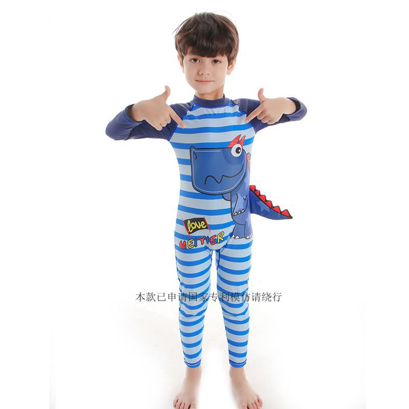 One-piece Swimsuit For Children Long Sleeve BOY'S Dinosaur Tour Bathing Suit Cartoon Printed 3-13-Year-Old KID'S Swimwear New St