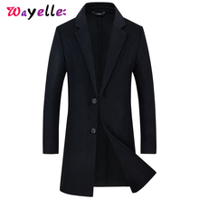 купить Men's Young Woolen Jacket Coat Fashion Long Section Trench Jacket Slim Fit Single Breasted Men Casual Winter Warm Overcoats 4XL по цене 3841.44 рублей