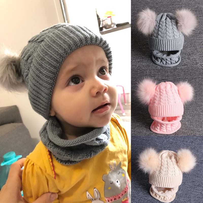 2pcs Baby Hat Scarf Knitted Winter Warm Suit Boy Girl Beanie Pom Pom Bonnet Cap