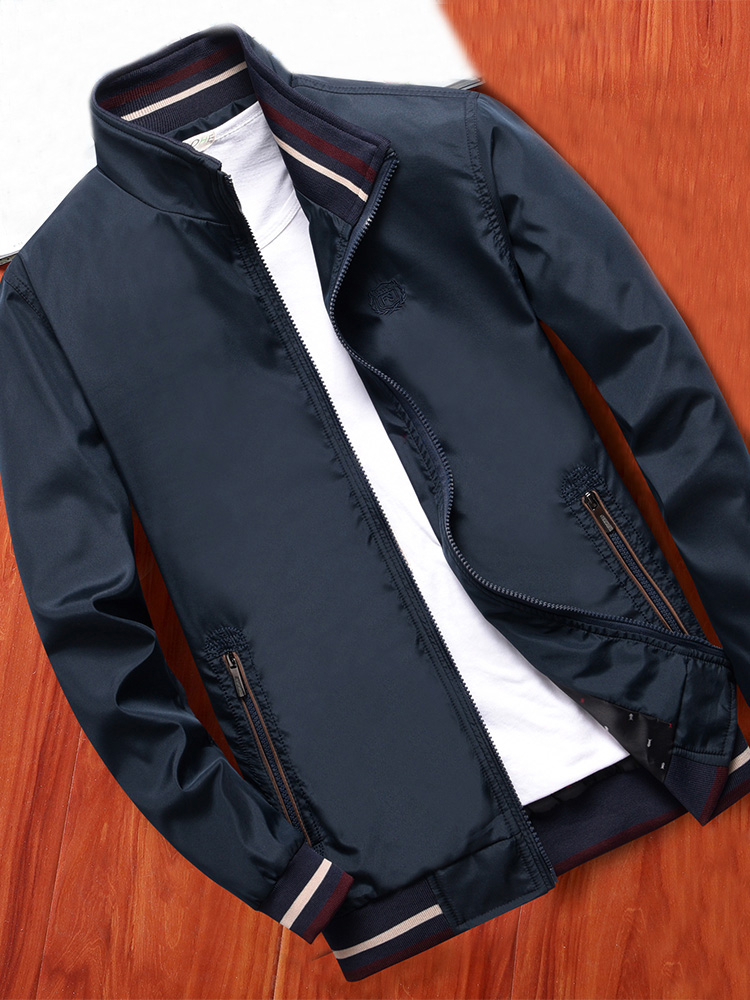 MANTLCONX Men Jacket Coats Spring Brand-Clothing Casual Outwear New Stand Male Solid-Color