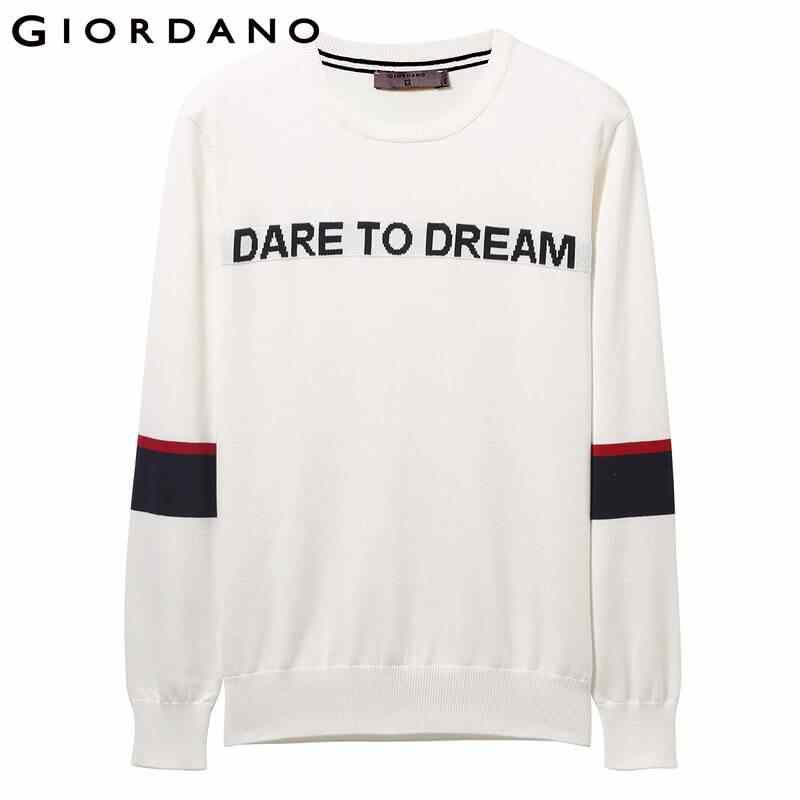 Giordano мужские свитера с контрастными буквами, с длинными рукавами, 12 игл, вязаный свитер, хлопок, мягкий, Chompas Para Hombre 01059853