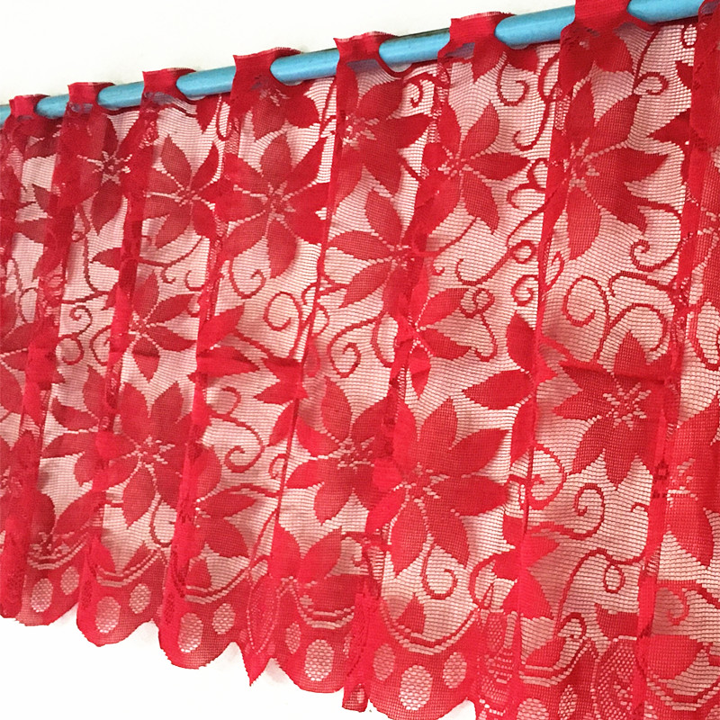 1pc Europe Red Lace Curtain Window Tulle Curtains For Living Room Kitchen Modern Window Treatments Voile Curtain Christmas Decor