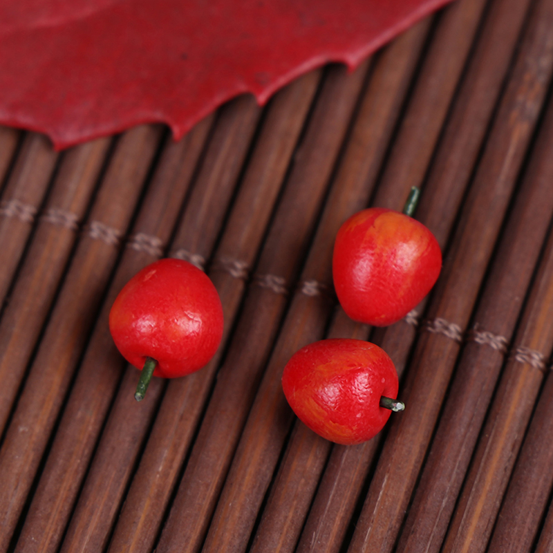 10Pcs/bag Dollhouse Accessories Miniature Red Apple Kitchen Decoration Emulation Red Fruit Apples