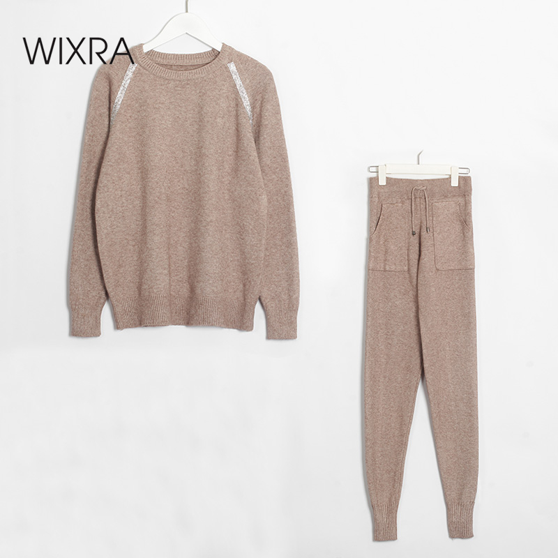 Wixra Women Sweater Suit And Sets Casual Autumn Winter 2 Piece Sets Solid Sequined Casual Female Knitted Pullovers Tops+Trousers
