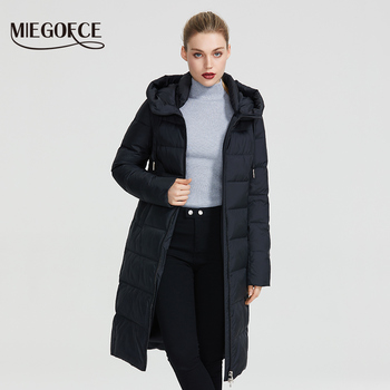 MIEGOFCE 2019 New Winter Women Collection Coat Ladie Winter Jacket Below Knee Length Warm Coat With Hood Protect Ffrom Wind Cold 1