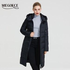 Image 2 - MIEGOFCE 2020 חדש חורף נשים אוסף מעיל Ladie חורף מעיל מתחת הברך אורך חם מעיל עם ברדס להגן על Ffrom רוח קר