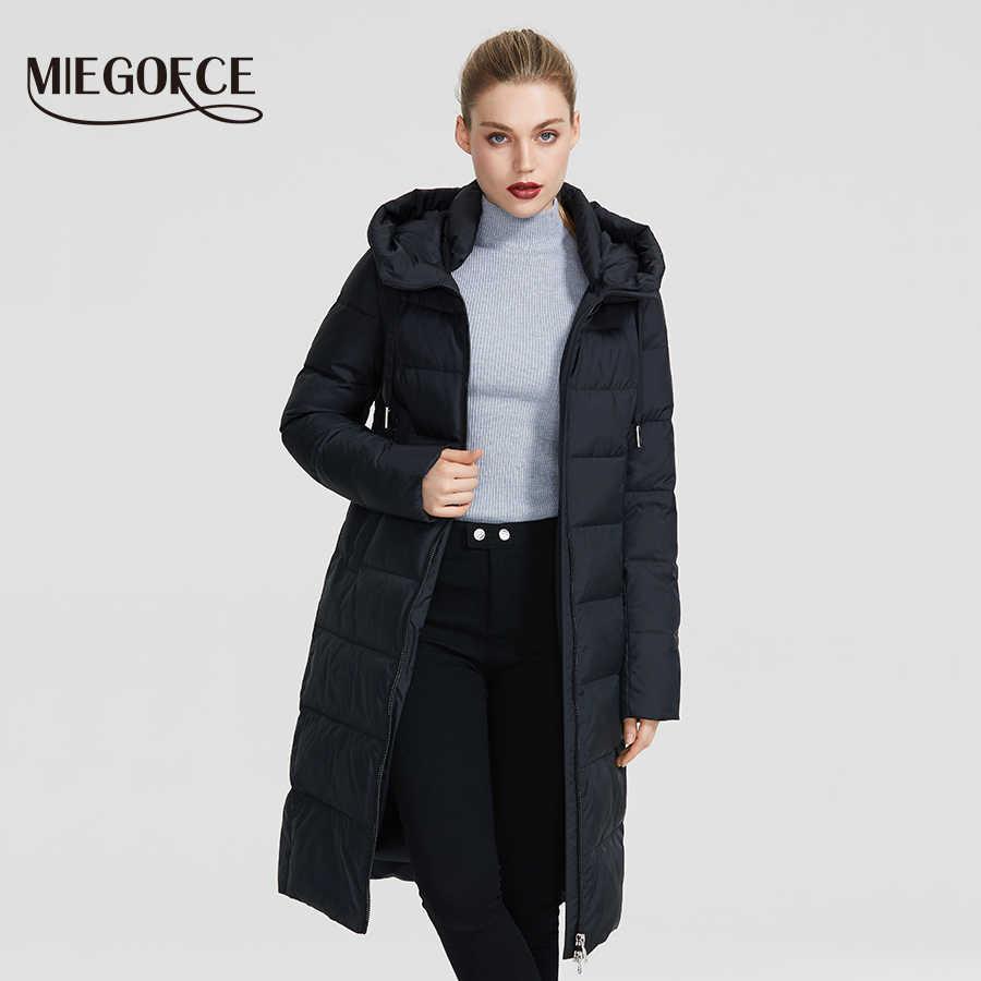 Miegofce 2019 Baru Musim Dingin Wanita Koleksi Mantel Ladie Jaket Musim Dingin Di Bawah Lutut Panjang Mantel Hangat dengan Hood Melindungi Ffrom Angin dingin