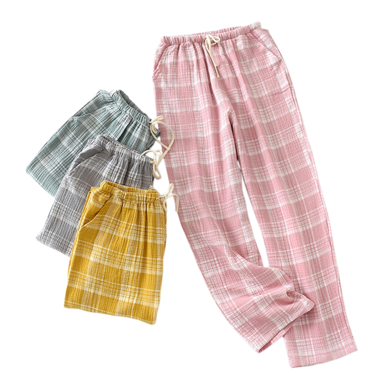 Spring 100% Crepe Cotton Sleep Bottoms Women Warm Home Trousers Pijama Pants New Fashion Plaid Casual Pyjamas Sleep Trousers