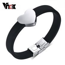 Vnox Heart Bracelet Bangle for Women Free Engrave Personalized Name Logo