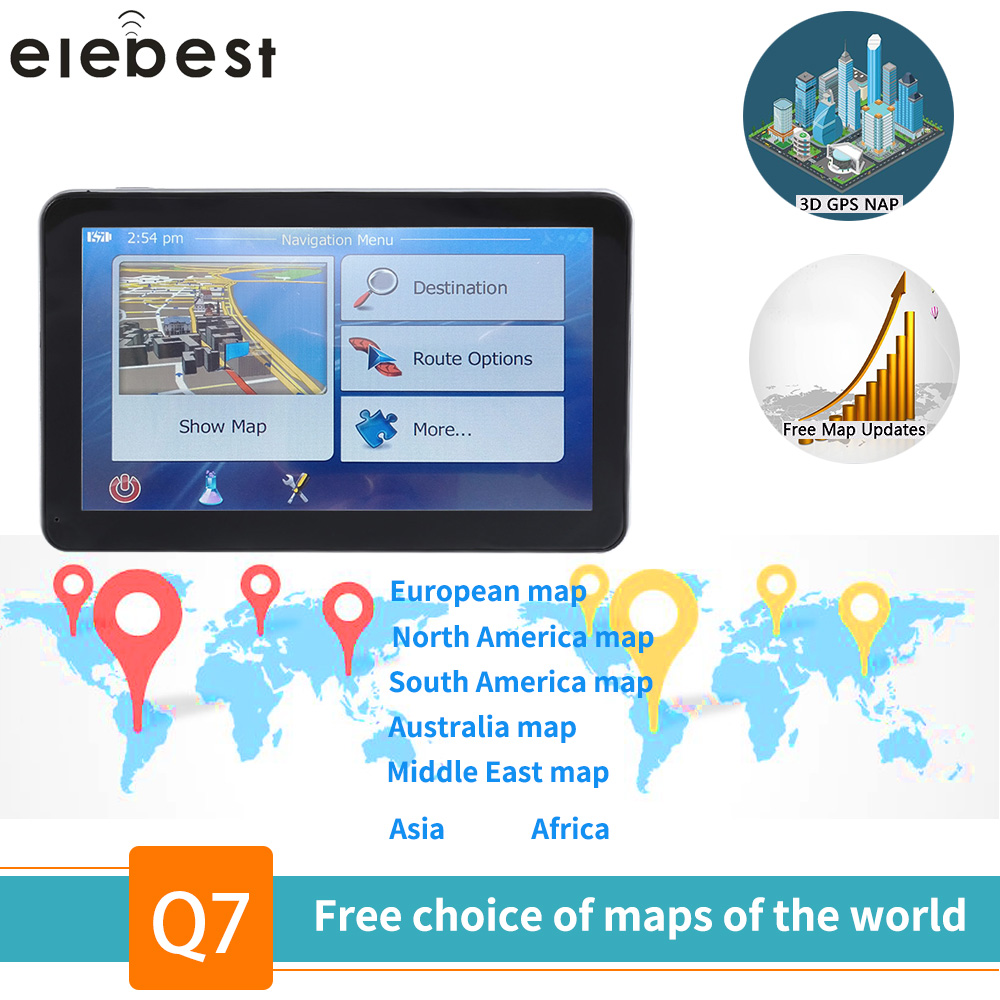 Elebest gps navigation 7 zoll TouchScreen Gps Navigator Auto Fahrzeug Lkw GPS Sat Nav BHT Optional Europa 2019 Karten Freies upgrade