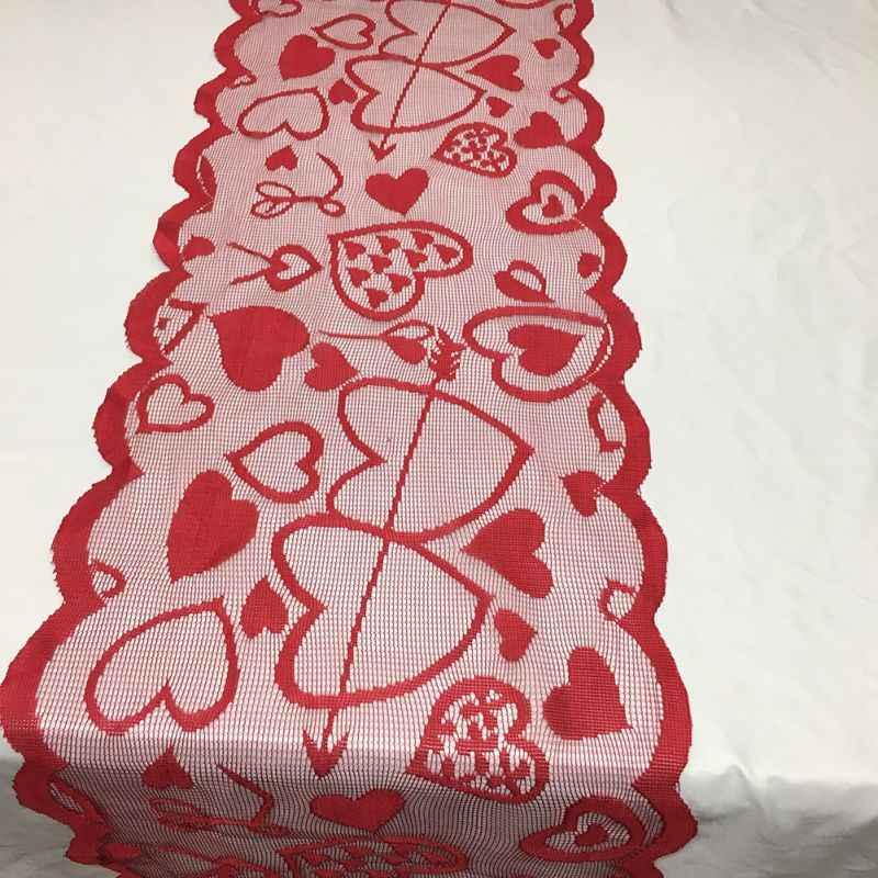 Kalp masa örtüsü masa koşucu düğün yemeği ziyafet ev dekorasyon kırmızı sevgililer günü masa koşucu ziyafet ev dekor