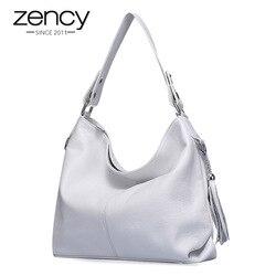 2020 موضة جديدة لينة حقيقية جلد طبيعي شرابة المرأة حقيبة أنيقة السيدات المتشرد حقيبة كتف رسول محفظة حقيبة بيضاء