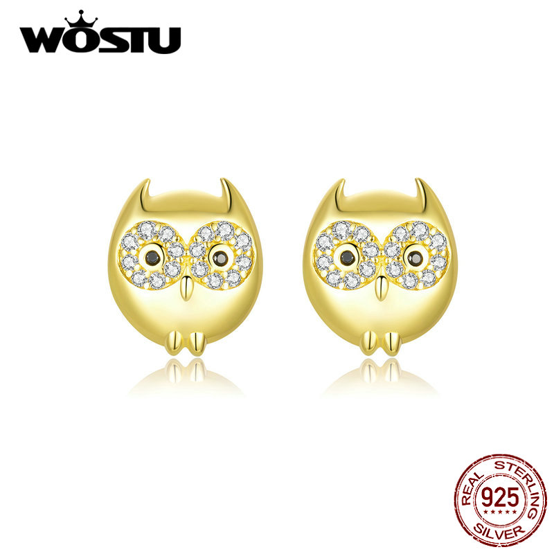 WOSTU Authentic 925 Sterling Silver Owl Earrings Cute Animal Gold Color Earrings For Women Making Fashion Jewelry Gift CTE304