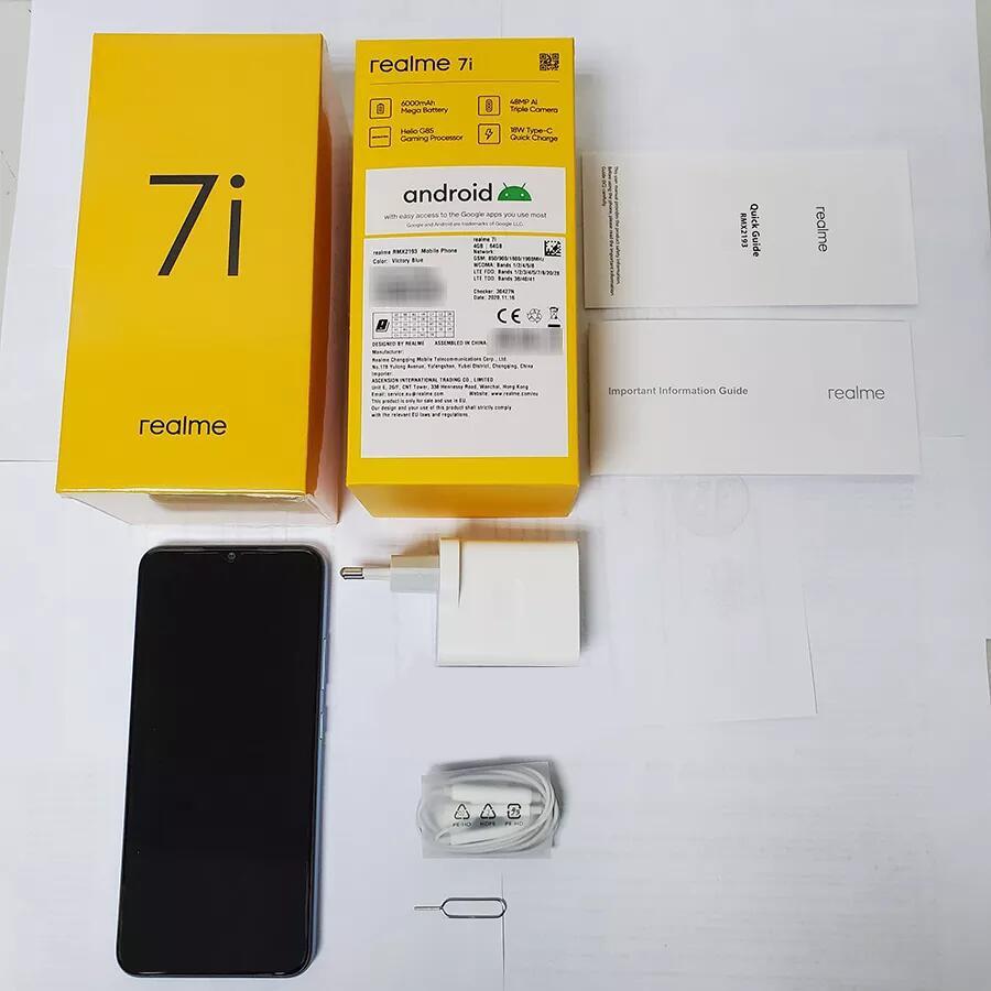 realme 7i RMX2193 6.5''HD+ 4GB 64GB 48MP AI Triple Cams Smartphone Helio G85 Octa Core 18W Quick Charge 6000mAh Mobile Phone 6