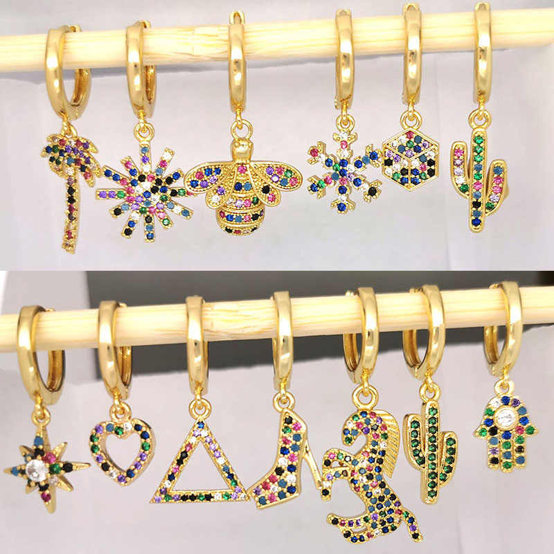 Small Hoop Earrings Women Heart Bee Geometric Cactus Leaf Flower Crown Star Horse CZ Rainbow Jewelry Gold Color Kid Hoops 1pc