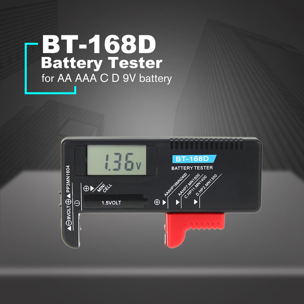 Digital Battery Tester Detector Capacity Diagnostic Tool Volt Checker for AAA AA C D 9V 1.5V Button Cell Battery BT-168D