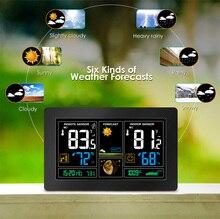 무선 기상 관측소 예보 시계 실내 실외 온도 습도 센서 다채로운 lcd 날씨 스누즈 시계 습도계