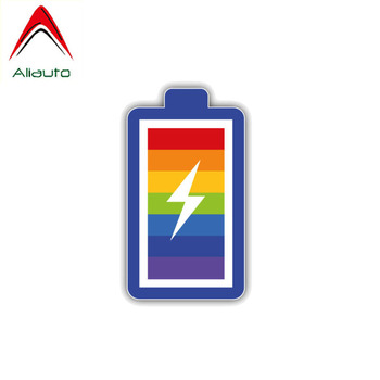 Aliauto Personality Car Sticker LGTB Gay Pride Rainbow Battery Accessories PVC Decal for Motorcycles Renault Opel Seat,14cm*8cm image