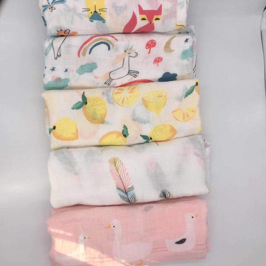 Baby Muslin Swaddle Blankets 70%bamboo + 30%cotton Baby Blanket Newborn Bath Towel Muslin Diaper