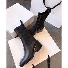 Новинка года; женские Ботинки martin; модные шерстяные ботильоны на платформе с толстым высоким каблуком; зимняя женская обувь