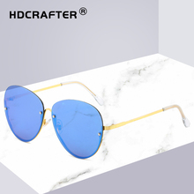 Pink Aviation Sunglasses Men men 2019 Sport Pilot Women Female Mirror Rimless Glasses For Zonnebril Dames