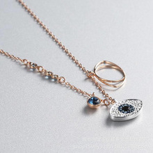 Real 925 Sterling Silver Guardian Lucky Eye Blue CZ Chain Pendant Necklaces for Women Sterling Silver Jewelry real 925 sterling silver alphabet o zircon pendant necklaces for women cz geometric wedding fine jewelry
