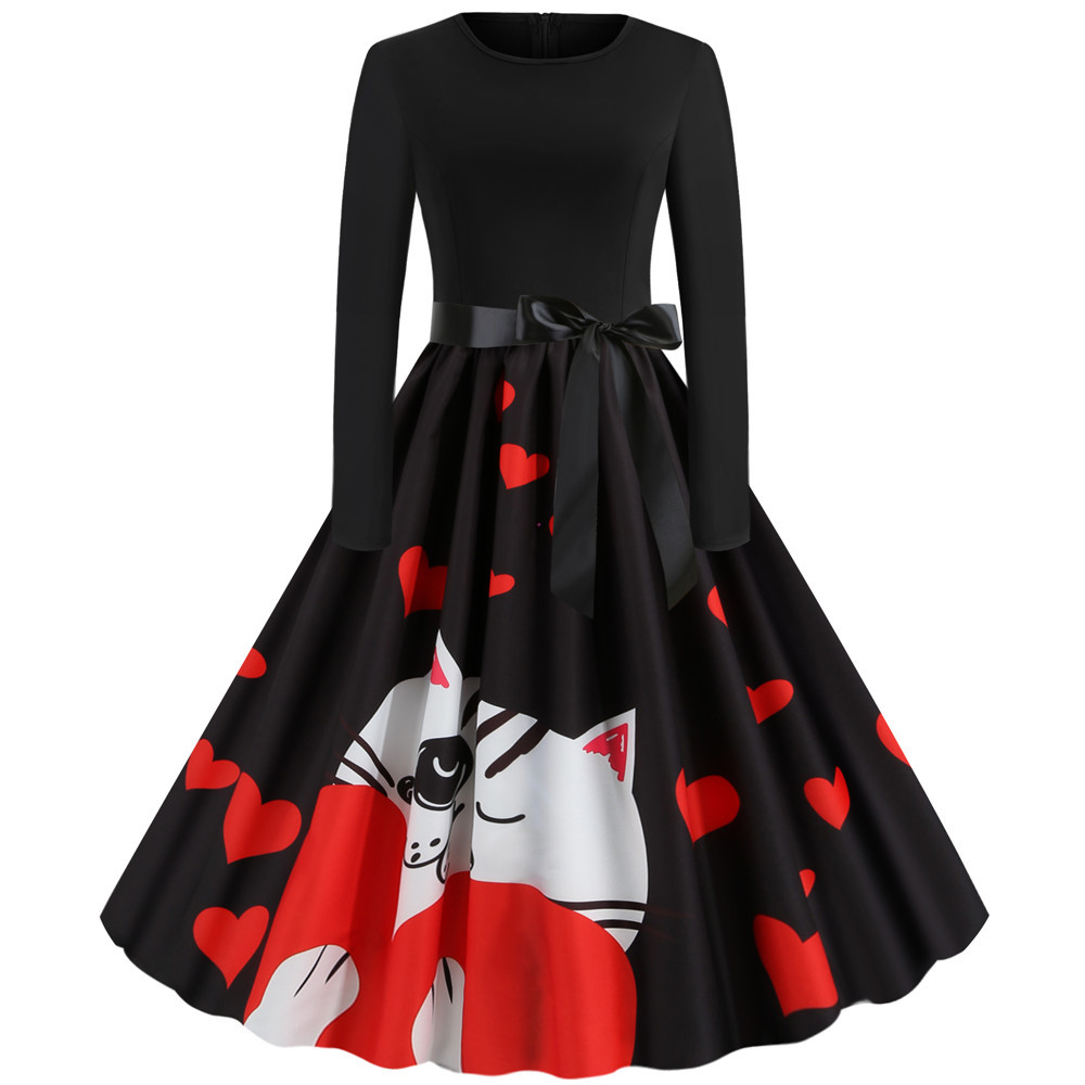 Print Elegant Women Spring Winter Dresses Long Sleeve Vintage Pin up Rockabilly Party New Year Dress Knee-Length Black Vestidos