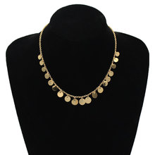 Simple Metal Round Sequins Clavicle Necklace Women Exquisite Long Chain Choker Statement Jewelry