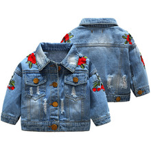 Outwear Coat Toddler Baby-Girl Button Denim Turn-Down-Collar Embroidery Hole Long-Sleeve
