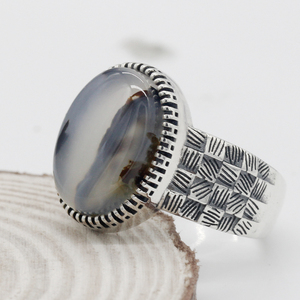 Image 4 - 925 Sterling Silver Men Ring with Big Natural Onyx Stone Vintage Weave Style Thai Silver Ring for Men Women Turkish Jewelry