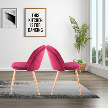 A set of 4 dining chairs with soft velvet feet and wooden feet, ideal for kitchen, dining room, living room, lounge (red/blue)