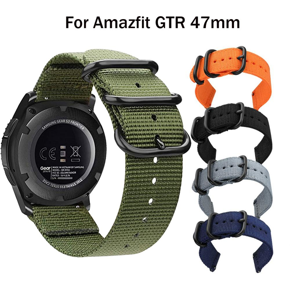 Nylon Canvas Strap Replacement For Xiaomi Huami Amazfit Stratos 2S /PACE/GTR 47MM Watch Band For Huawei Watch GT GT2 46mm Straps