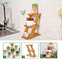 Flower Shelf Multi-Layer Balcony Plant Frame Solid Wood Fleshy Living Room 3 Layers
