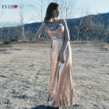Sparkle Rose Gold Prom Dresses Ever Pretty EP07087RG Lovertjes Spaghettibandjes Backless Sexy Formele Avondjurken Robe De Soiree(China)