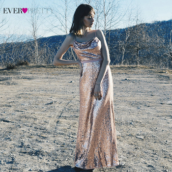 Sparkle Rose Gold Prom Dresses Ever Pretty EP07087RG Sequined Spaghetti Straps Backless Sexy Formal Evening Gowns Robe De Soiree