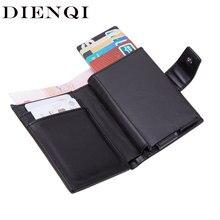 Dienqui carteiras rfid masculina, porta-cartão, clássico, carteira para dinheiro, zíper, grande marca de luxo, carteira preta homens