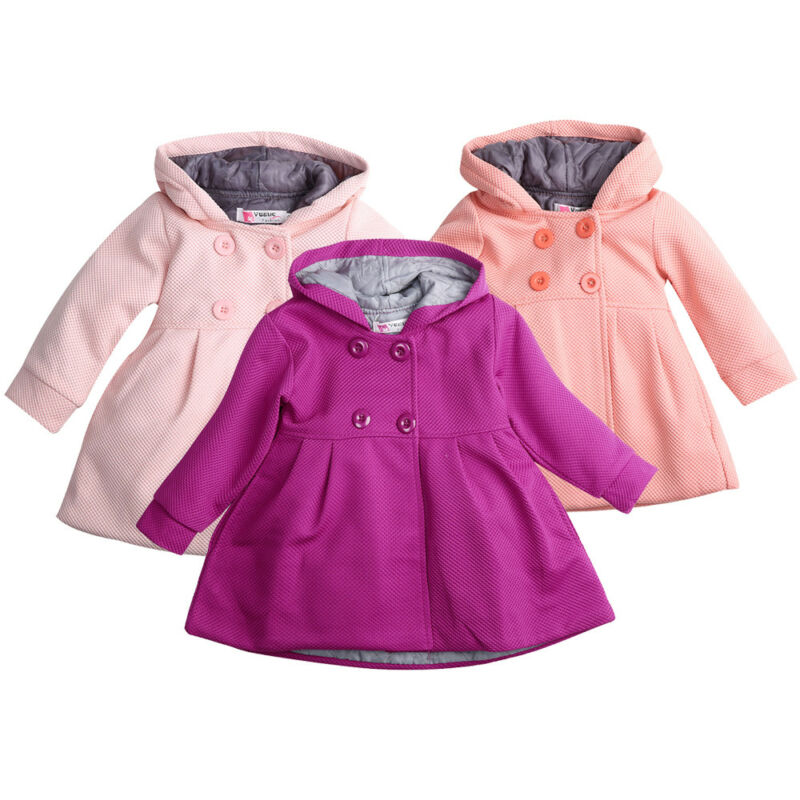PUDCOCO Baby Hooded Trench Coat Fall Winter Windbreaker Parka Jacket Kids Outerwear Support