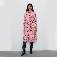 Korean Pink Office Polka Dot Vintage Autumn Dresses Women Winter Dress 2019 Elegant Floral Three Quart Sleeve Dress Female ZA