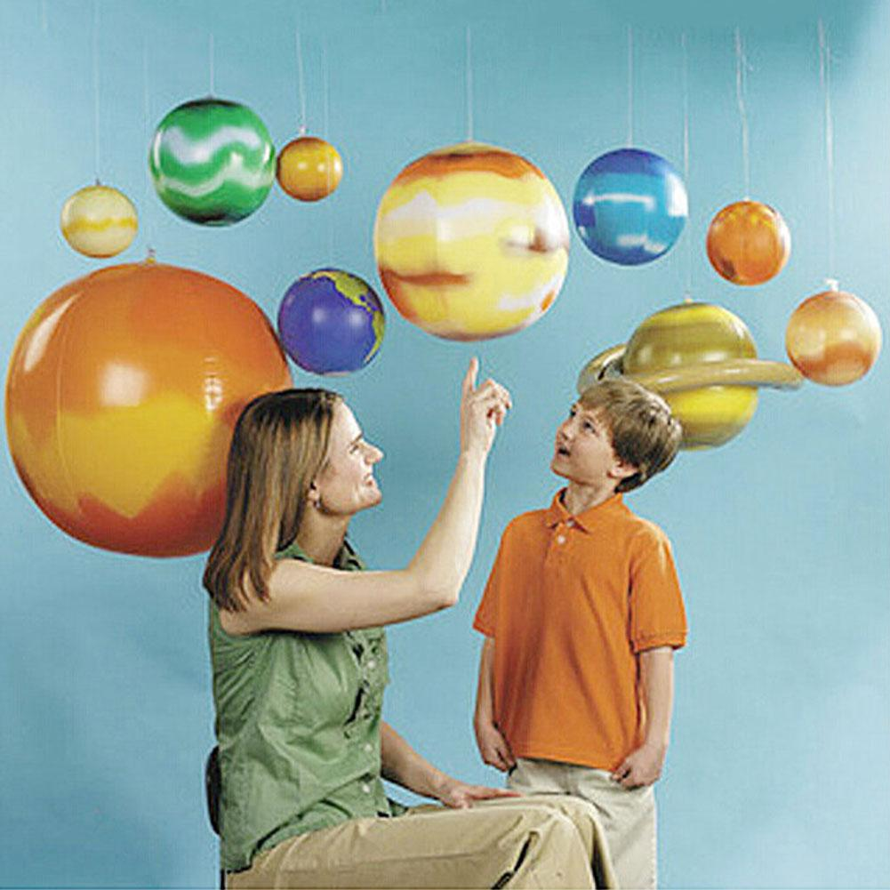 10pcs Imitation Solar System Nine Planets Model Children Inflatable Ball Early Learning Toys for Kids Outdoor Fun Birthday Party
