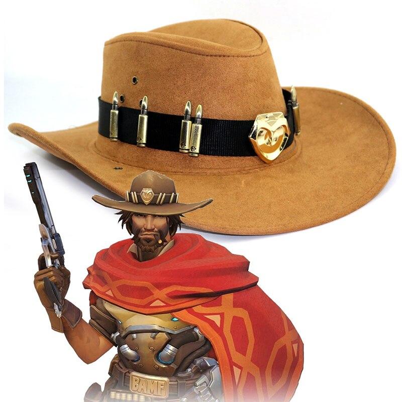 Sombrero con Distintivo de McCree de West Cowboy, accesorios de disfraz de héroe pirata, accesorio de juego para Cosplay, OW para adultos, hombres, mujeres, adolescentes, chicos, Halloween Estatua de una pieza de 9 pulgadas, sombrero de paja, piratas, bigotes blancos, busto, figura de acción de 23,5 CM, juguete de modelos coleccionables, caja J430