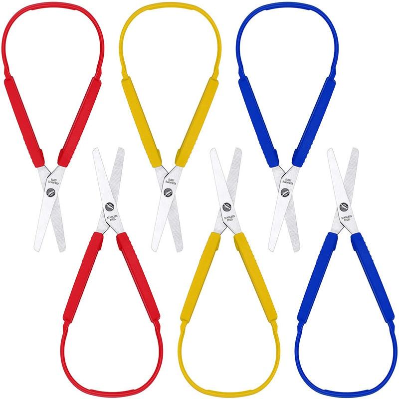 Loop Scissors Colorful Grip Scissors Loop Handle Self-Opening Scissors Adaptive Cutting Scissors 8 Inches (6 Packs)