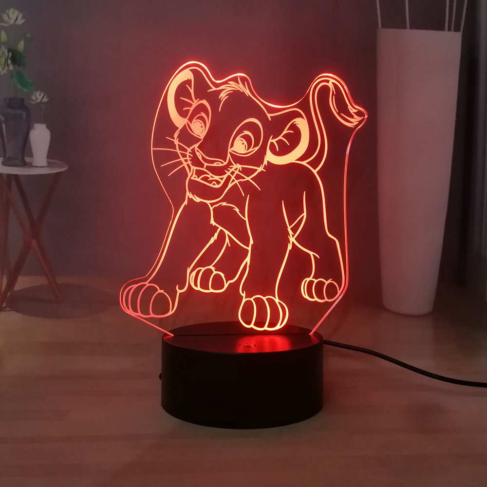 The Lion King USB Touch LED Child Night Light Cartoon Simba Room Decor Kids Birthday Holiday Gift King Of The Jungle Desk Lamp