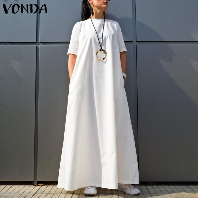 VONDA Women Dress 2020 Casual O Neck Short Sleeve Solid Color Vintage Kaftan Maxi Dresses Plus Size Holiday Beach Sundresses 5XL