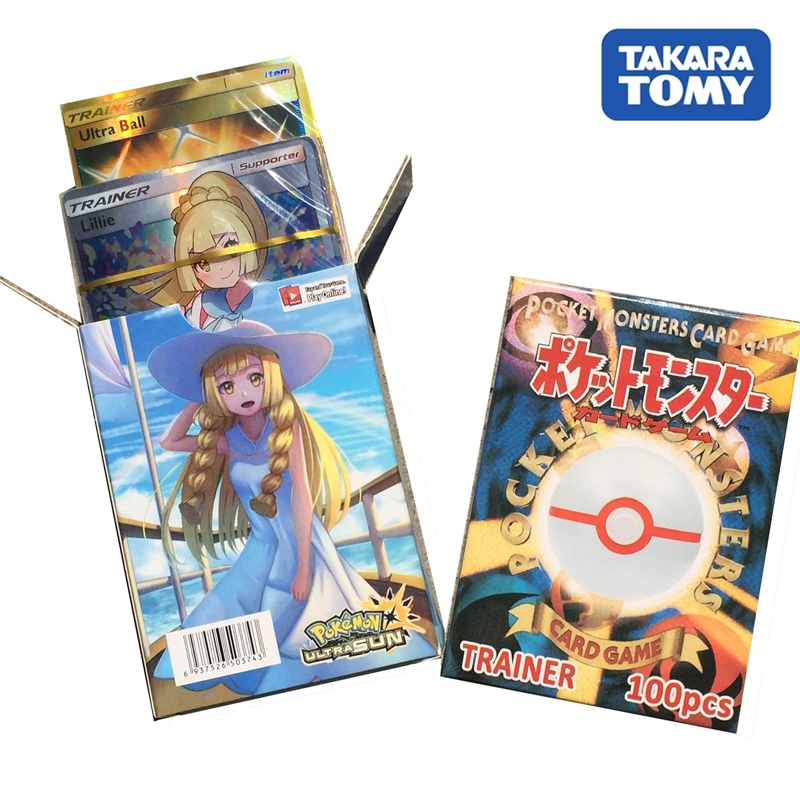100pcs/box Pokemon Cards ULTRASUN Trainer Series Game Battle Trading Card Kids Toys